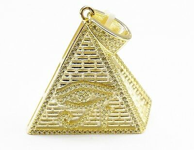 Sterling Silver .925 Eye of Horus Egyptian Pyramid Pendant 14k Yellow Gold 3D