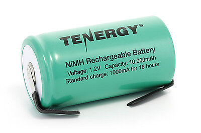 Tenergy D Size 10000mAh NiMH Flat Top Rechargeable Battery  w/ Tabs