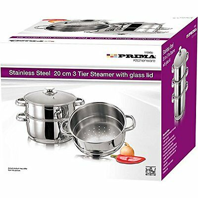 20Cm 3Pc Stainless Steel Steamer Cooker Glass Lids Pot Set 3 Tier Pan Cook Food