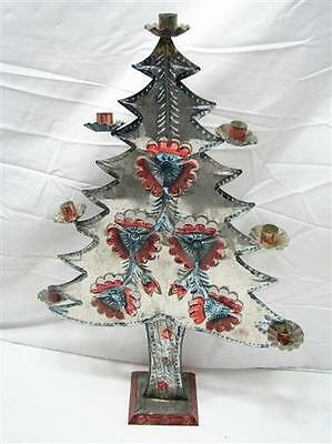 Early Punched Tin Christmas Tree Candle Holder Foil Folk art