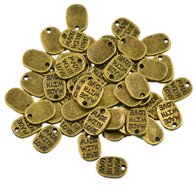 Lot Of 50pcs Vintage Tibetan Bronze Oval Charms MADE WITH LOVE Pendants