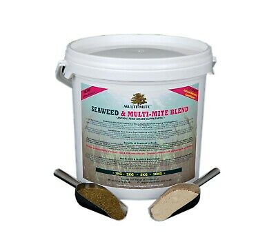 MULTI MITE Diatomaceous Earth DE & Seaweed 5KG Bucket FEED WORMER-CONDITIONER