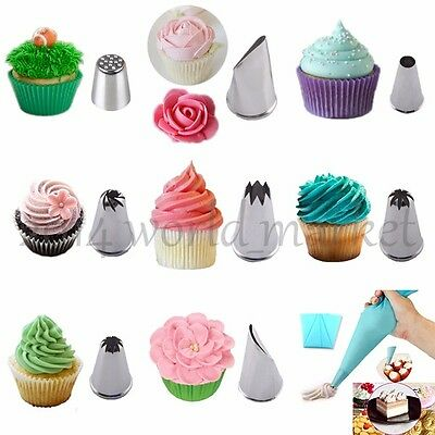 Nice! 8 Style Icing Piping Nozzles Tips + Silicone Bag Cake Decorating For Party