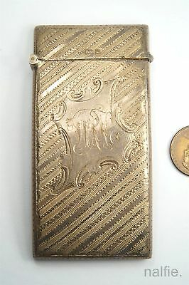 Antique English Edwardian Period Sterling Silver Card Case, Hallmarked 1904