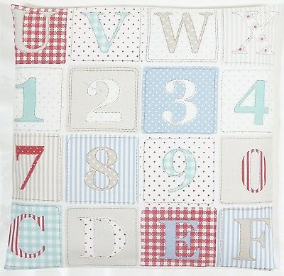 "Fryetts ABC Patchwork Fabric Blue Nursery Childrens Baby 16"" Cushion Cover"