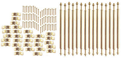 Dollhouse Carpet Accessories Stair Rod Set/15 Rods and Hardware/Br S3035B