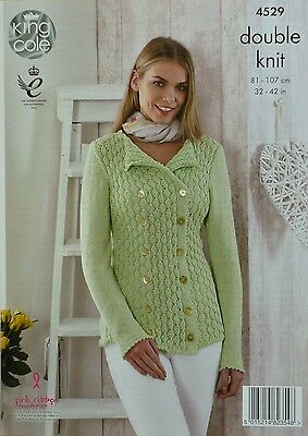 KNITTING PATTERN Ladies Long Sleeve Double Breasted Lacy Jacket DK KingCole 4529