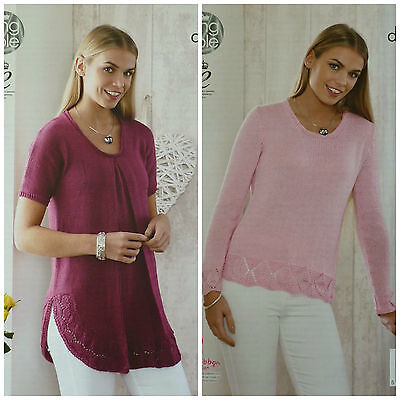KNITTING PATTERN Ladies Round Neck Long Top & Jumper Lace Hem DK King Cole 4530