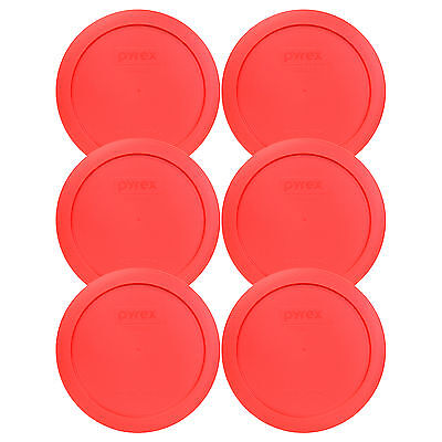 """Pyrex 7201-PC 6"""" Red Round Replacement Cover Lid New for 4 Cup Glass Bowl 6PK"""