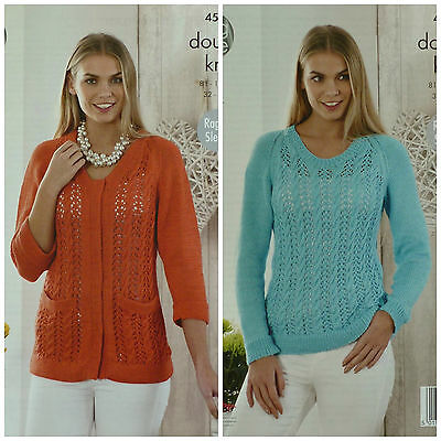 KNITTING PATTERN Ladies Long Sleeve Round Neck Lace Cardigan & Jumper DK 4532