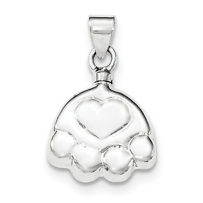 .925 Sterling Silver Polished Hollow Puppy Paw Dog Ash Holder Pendant