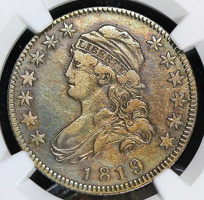 TONED NGC VERY FINE DETAILS 1819 CAPPED BUST QUARTER 25c  VF+