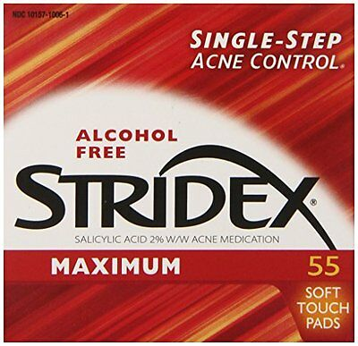 2 Pack Stridex Maximum Strength Medicated Pads 55 Count For Acne in Each