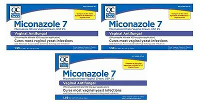 3 Pack Quality Choice Miconazole Nitrate Vaginal Cream 7-Day 2% 1.59oz Each