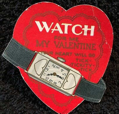"""Vintage 1930s Valentine """"Watch for Me Valentine Your Heart Will Go Tickity Tick"""""""