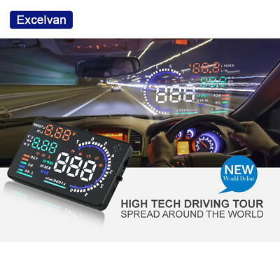 A8 Car HUD Head Up Display OBD2 Speedometer Speeding Warning GPS Compass 5.5""