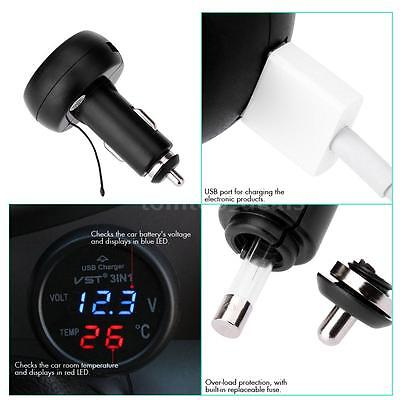 12V Illuminated voiture allume-cigare USB Chargeur thermomètre voltmètre DL U4W1