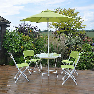 6pc Lime Green Garden Patio Furniture Set Dining Set Parasol Table And Chairs