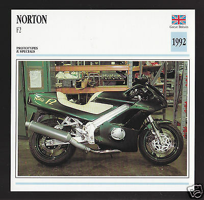 1992 Norton F2 Rotary Engine 558cc Motorcycle Photo Spec Sheet Info Stat Card