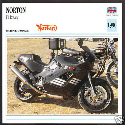 1990 Norton F1 Rotary Engine 588cc Motorcycle Photo Spec Sheet Info Stat Card