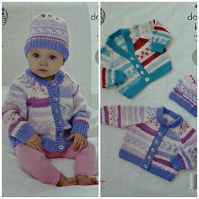 KNITTING PATTERN Baby Easy Knit V & Round Neck Cardigans & Hat DK King Cole 4514