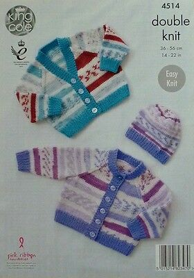 KNITTING PATTERN Baby Easy Knit Long Sleeve Cardigans and Hat DK King Cole 4514