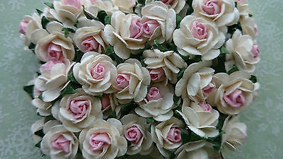 2 tone Mulberry Paper Roses, Pink Centre, 15mm, Wedding, Craft Embellishment