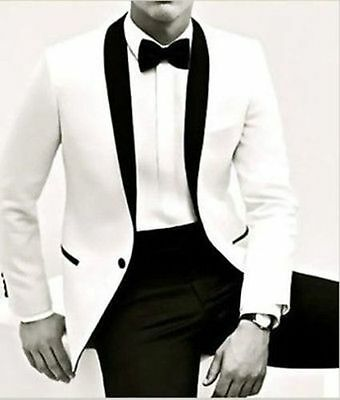 White Jacket Black Pant Fashon Men's Wedding Suits Groom Tuxedos Business Suits