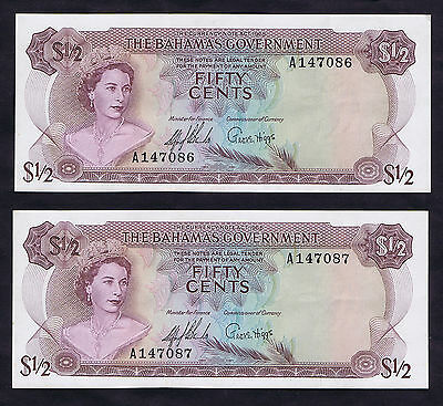 CONSECUTIVE BAHAMAS $1/2 FIFTY CENTS QUEEN ELIZABETH II P 17a SIGNED SANDS HIGGS