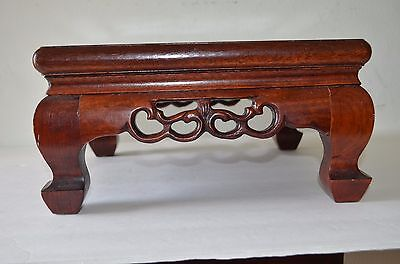 "Super 12"" Antique Chinese Carved Rose Wood Stand For Vase 19Th Century"