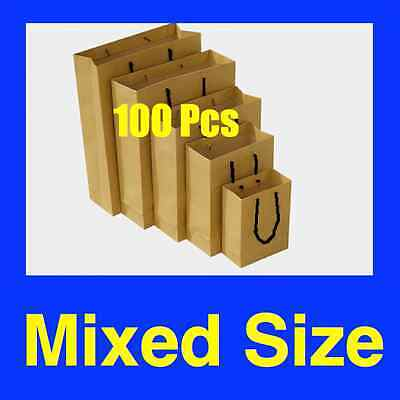 100 Mixed Size Brown Kraft Paper Bags