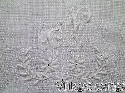 "Antique Whitework Embroidered Monogrammed N Huck Towel 25"" x 14 3/4"""