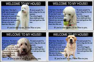 FUN FRIDGE MAGNET WELCOME TO MY HOUSE RULES dog GOLDEN DOODLE LABRADOR POODLE
