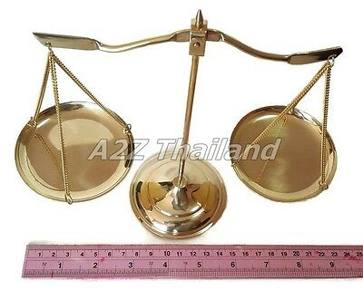 Vintage Brass Justice Scales Heavy Solid Statue Balance Marble Base Lawyer Decor