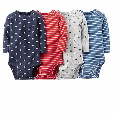 Carters Baby Boy Clothes 4-Pack Long Sleeve Bodysuits NB 3 6 9 12 18 24 Month