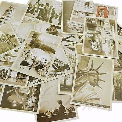 32Pcs Vintage Retro Travel Postcard Landscape Photo Picture Poster Post Cards
