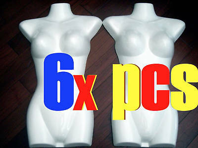 6x NEW MANNEQUIN Display TORSO Female GLOSSY WHITE