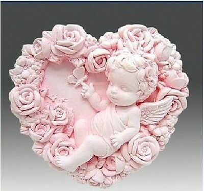 Angel In Flower heart Silicone Soap mold Craft Molds DIY Handmade soap mould