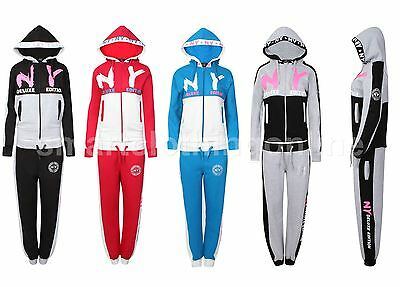 Girls New Contrast NY Deluxe Edition Tracksuit Sweat Top & Jog Track Bottoms Set