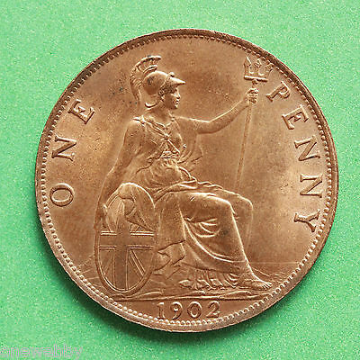 1902LT - Edward VII - Low tide Uncirculated Penny Full lustre - SNo40589.
