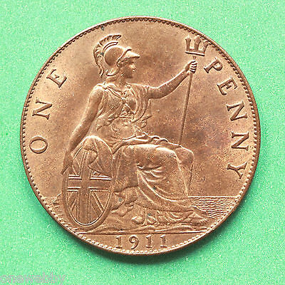 1911 - George V - Uncirculated Penny Full lustre - SNo40592.