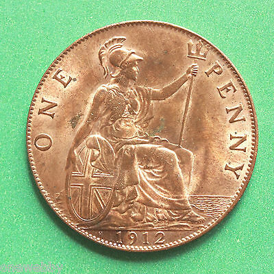 1912H - George V - H Heaton mint mark Uncirculated Penny Full lustre - SNo40594.