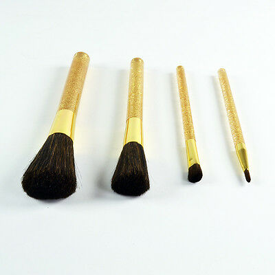 Estee Lauder Gold 4 Piece Brush Set For Eyes Cheek Face Lips - Brand New