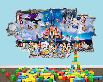 Disney Castle Fairy Hero Nursery Boys Girls Kids Room Wall Decal 3D Art Stickers