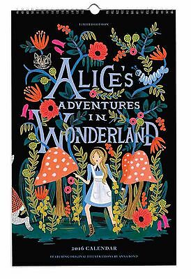 "New/Sealed 2016 Alice's Adventures In Wonderland Calendar(11x17"") Rifle Paper Co"