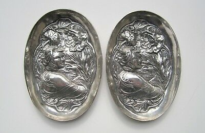Pair of 800 silver trays: Art Nouveau era figural design, woman with flowers