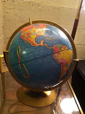 """Vintage 1965 Cram's Imperial Globe 12"""" With Plastic Base"""