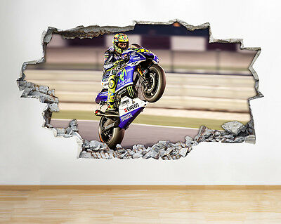 Valentino Rossi 46 Motorbike Wall Vinyl Poster Room Wall Decal Art 3D Stickers