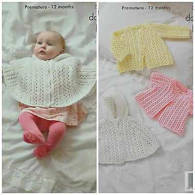 KNITTING PATTERN Baby Lacy Hooded Poncho &Lacy Cardigans Glitz DK King Cole 3778