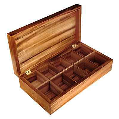 Ironwood Gourmet Acacia Wood Rectangle Tea Bag Chest Holder Storage Box Gift